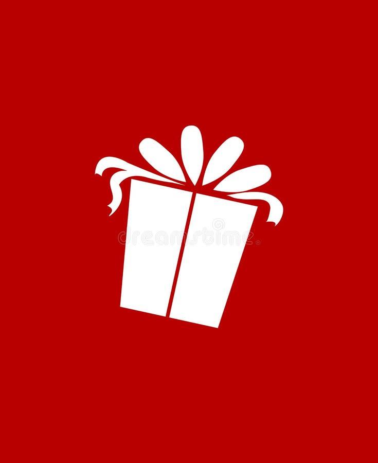 Julklappsymbol över röd bakgrund Plan symbol Ren design gears symbolen royaltyfri illustrationer