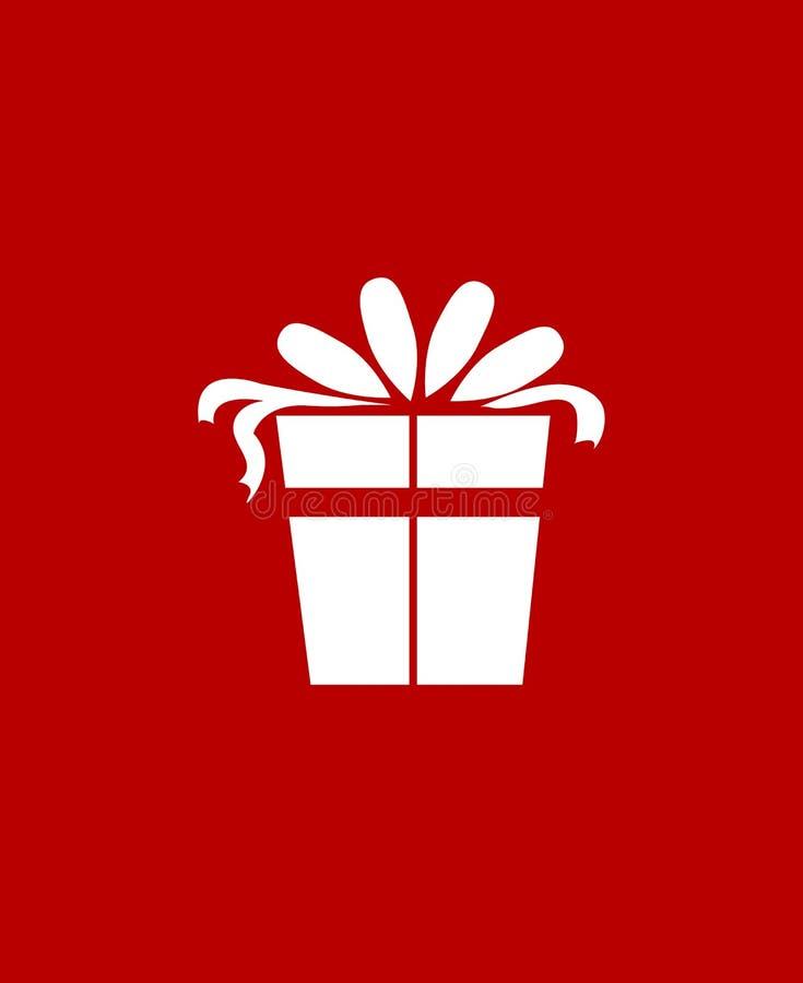 Julklappsymbol över röd bakgrund Plan symbol Ren design gears symbolen vektor illustrationer