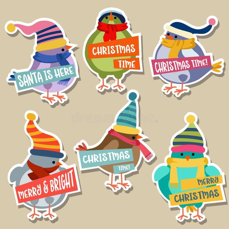 Julklistermärkesamling med fåglar vektor illustrationer