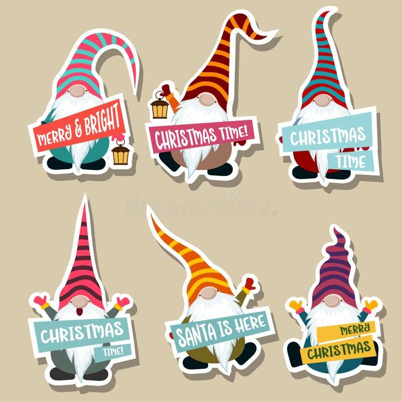Julklistermärkesamling med gnomer stock illustrationer