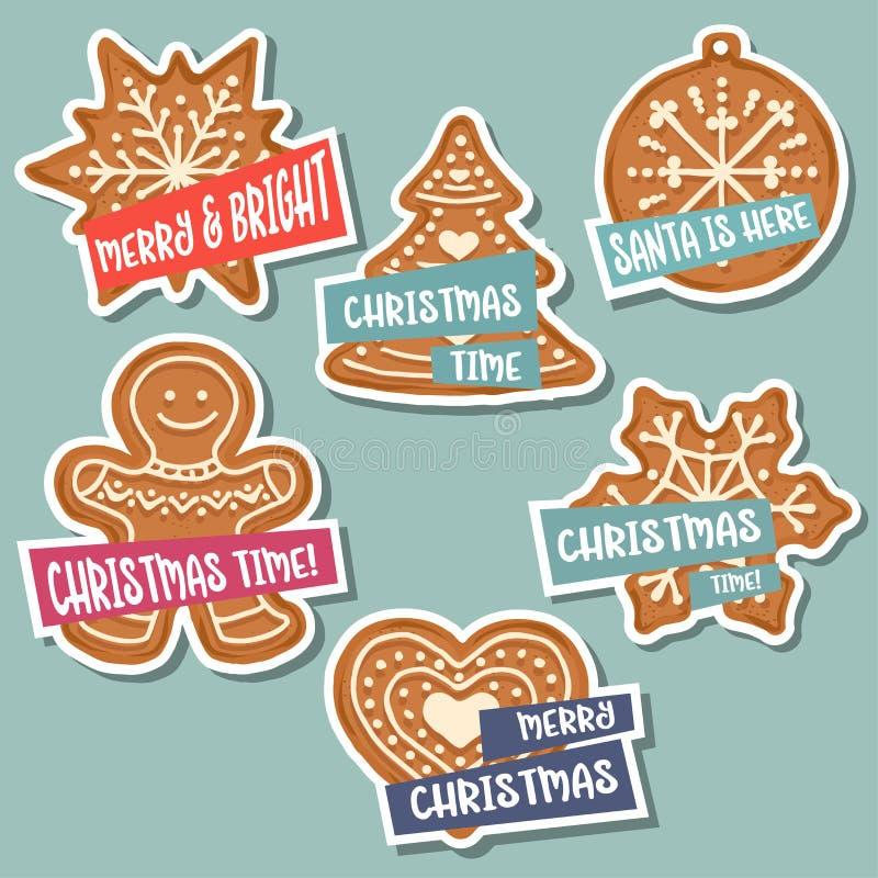 Julklistermärkesamling med jul pepparkaka och wis stock illustrationer