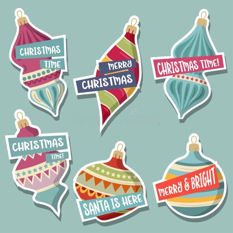 Julklistermärkesamling med julbollar och önska royaltyfri illustrationer