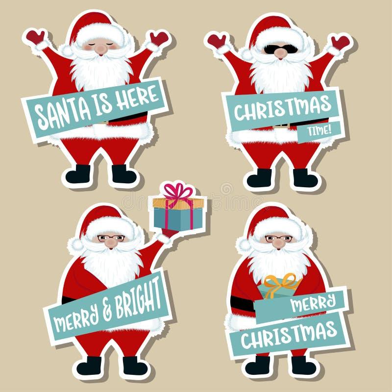 Julklistermärkesamling med jultomten royaltyfri illustrationer