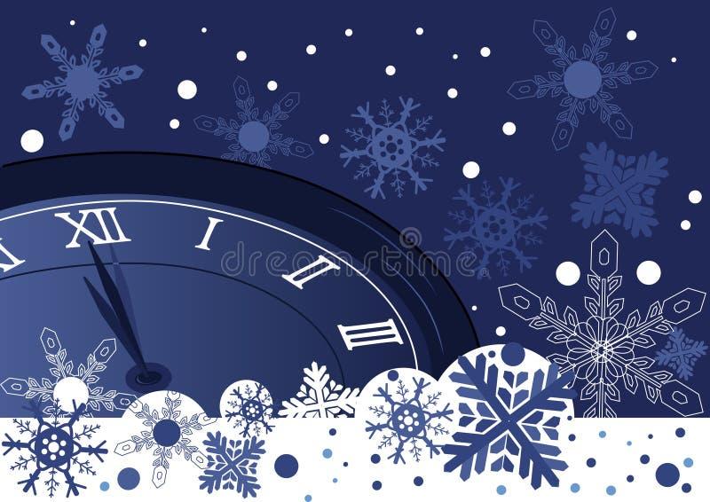 Julklocka över abstrakt begreppblåttbakgrund royaltyfri illustrationer