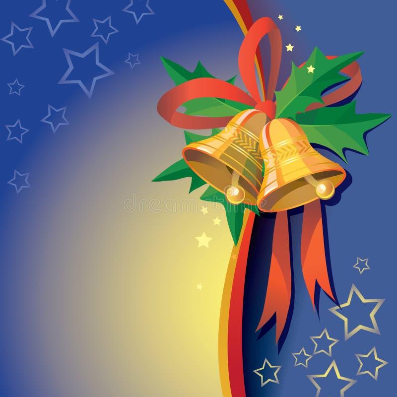 Julklockor med bandet och järnekbär stock illustrationer