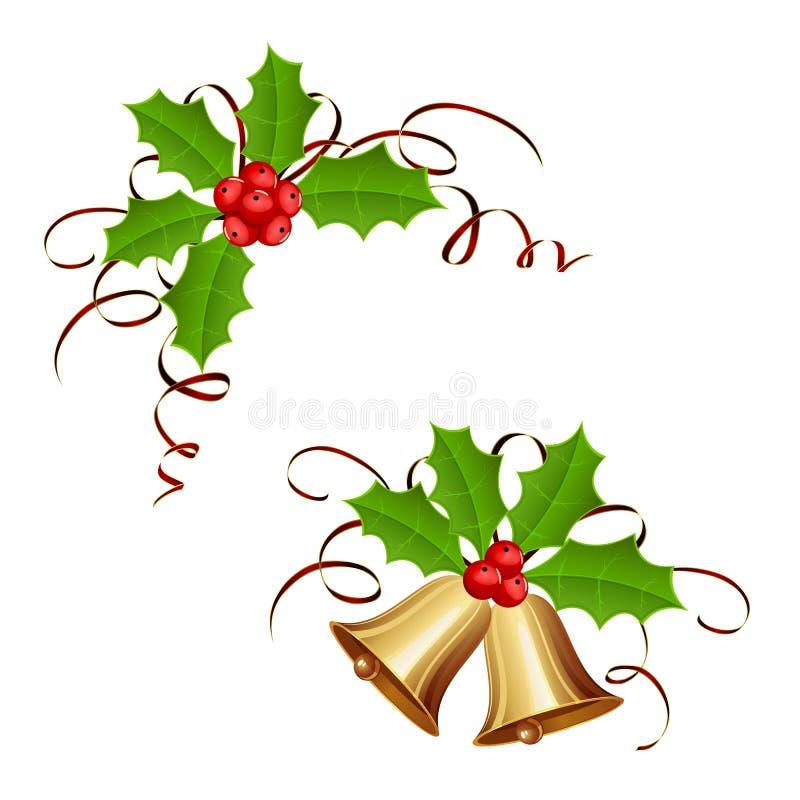 Julklockor och järnekbär med glitter stock illustrationer