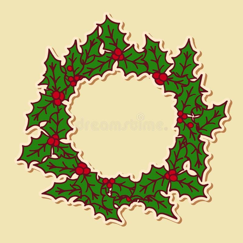 Julklotterkrans royaltyfri illustrationer