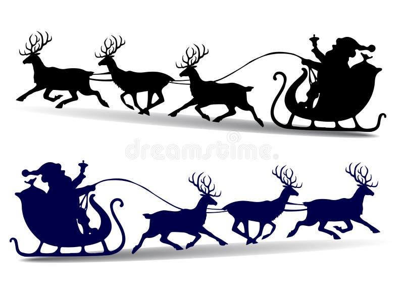 Julkonturn av Santa Claus rider i en släde på hjortar, c vektor illustrationer