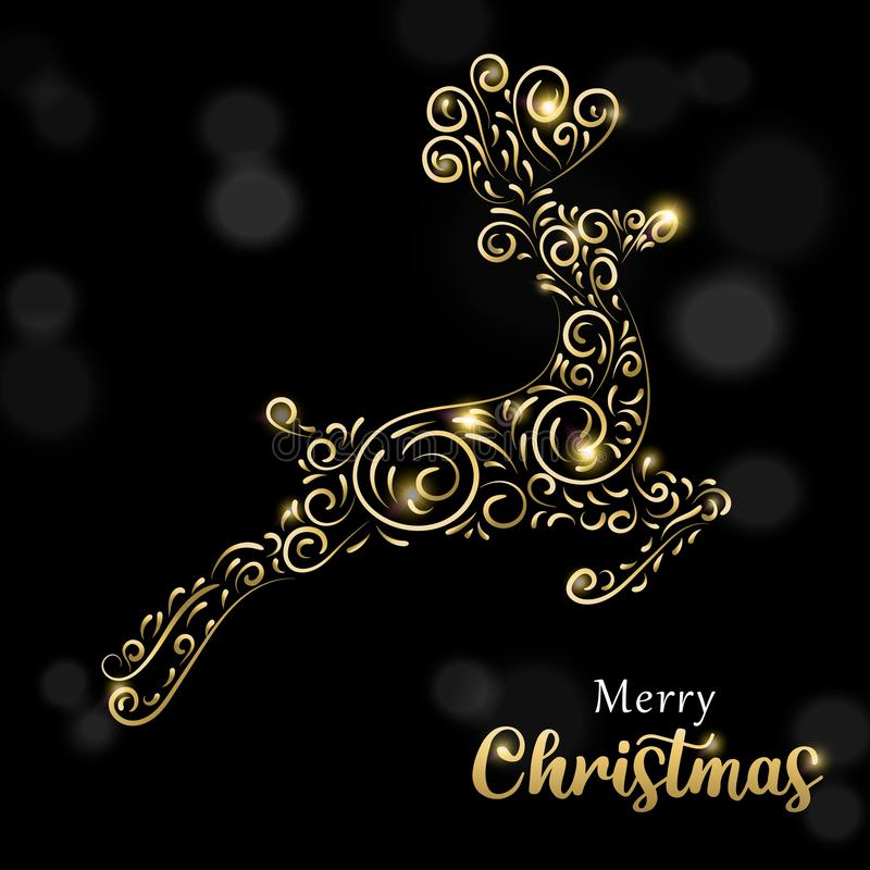 Julkort av lyxig guld och den svarta renen royaltyfri illustrationer