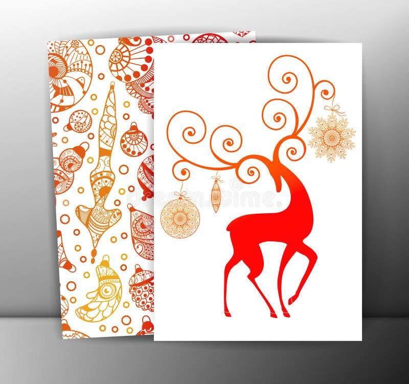 Julkort eller bakgrunder med hjortar och royaltyfri illustrationer