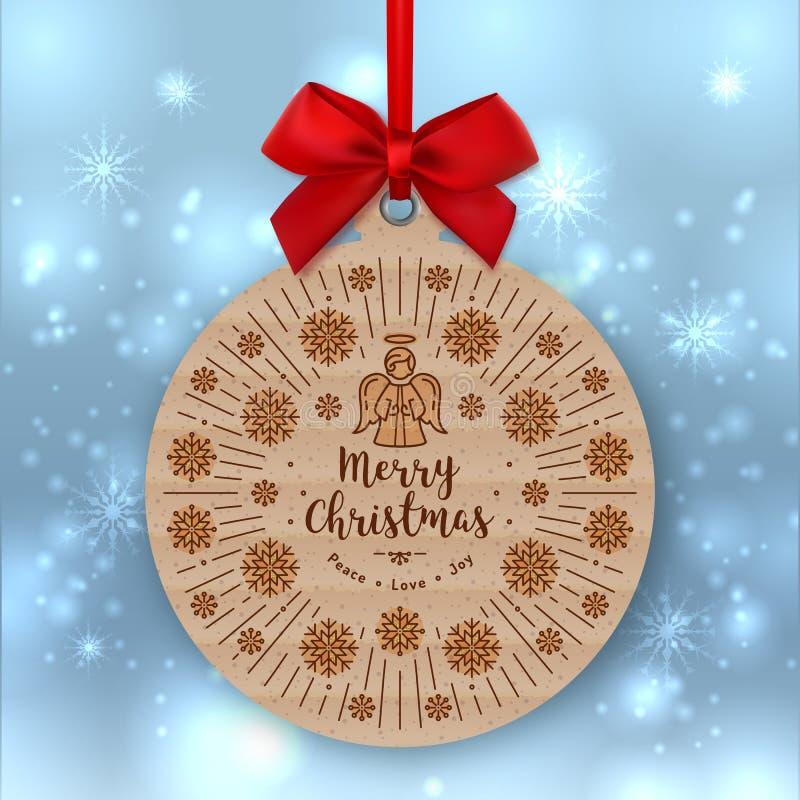 Julkort etikett för gåva för Kraft papper, röd pilbåge, vinterbakgrund royaltyfri illustrationer