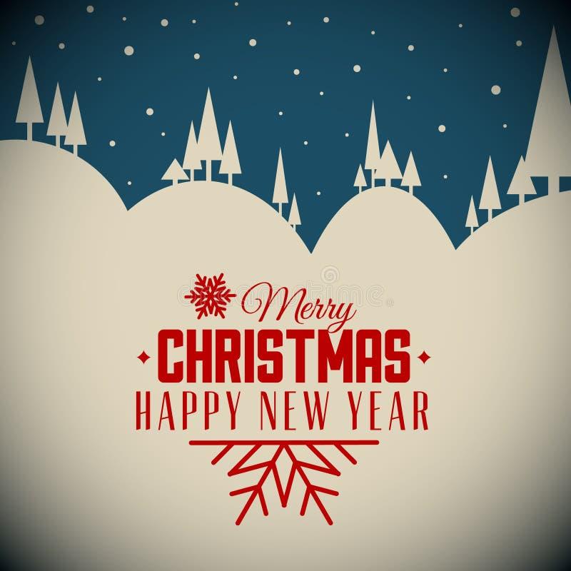 Julkort för retro natt för vektor snöig stock illustrationer