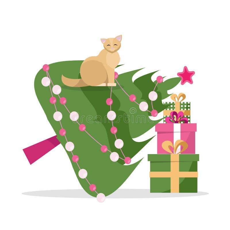 Julkort - katten tappade julgranen och sitter på den på en vit bakgrund Julgranen lutade till en bunt av gåvan royaltyfri illustrationer