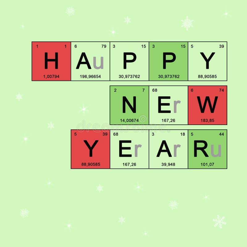 Julkort - kemi för lyckligt nytt år som hälsar orienteringen, baner med beståndsdelar för periodisk tabell stock illustrationer