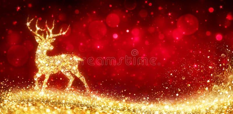 Julkort - magisk guld- hjort royaltyfri illustrationer