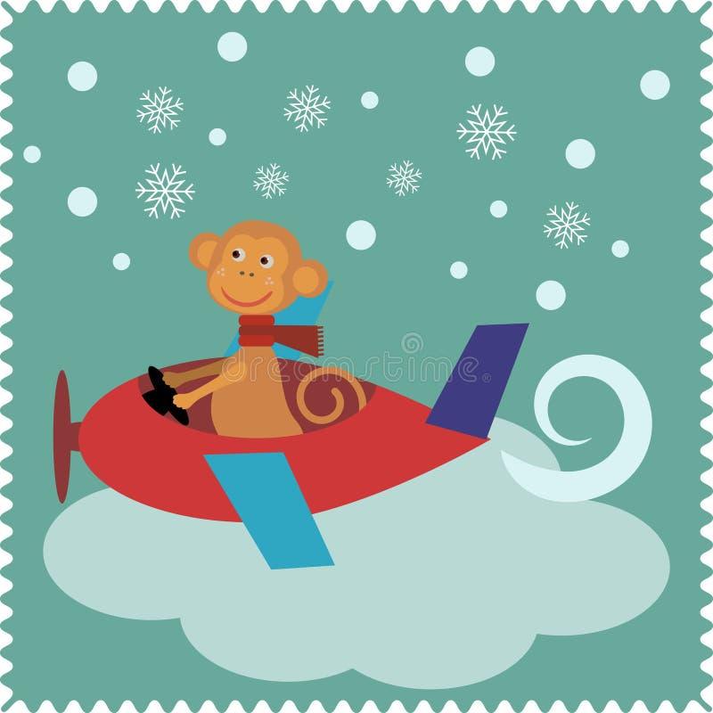Julkort med apan Santa Claus royaltyfri illustrationer