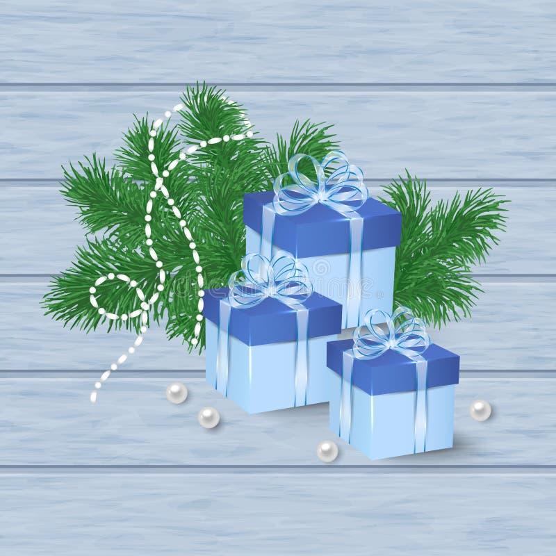 Julkort med blåa gåvaaskar royaltyfri illustrationer