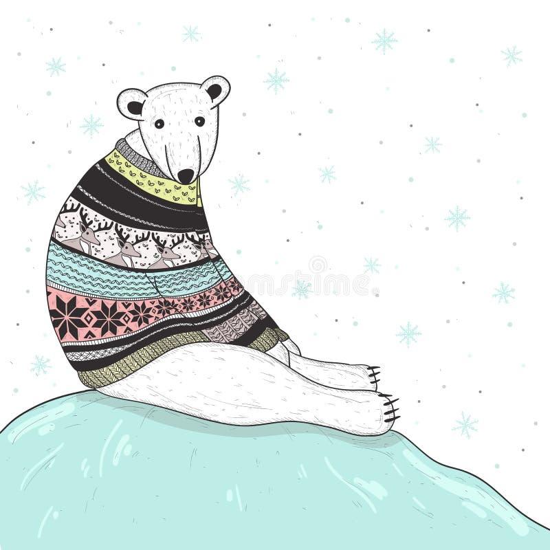 Julkort med den gulliga polara björnen royaltyfri illustrationer