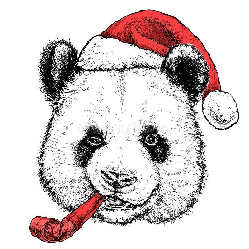 Julkort med den gulliga ståenden för pandabjörn i röd hatt för jultomten` s och med en röd rolig partivissling också vektor för c vektor illustrationer