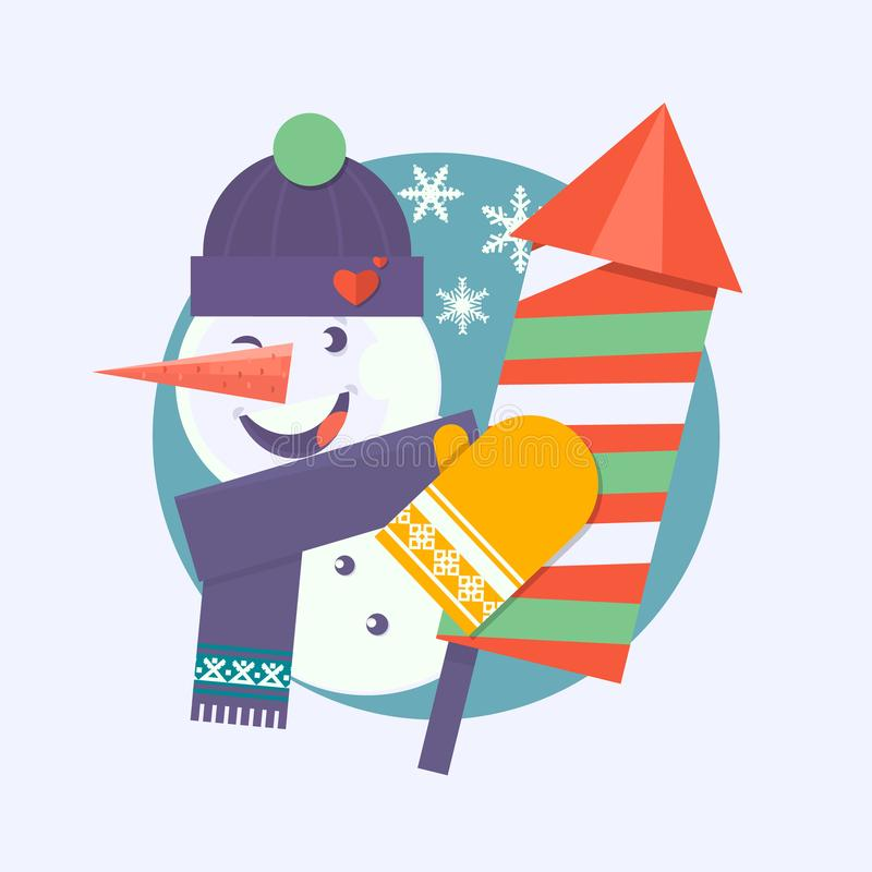 Julkort med den hållande firecrackeren för snögubbe Plan vektorillustration royaltyfri illustrationer