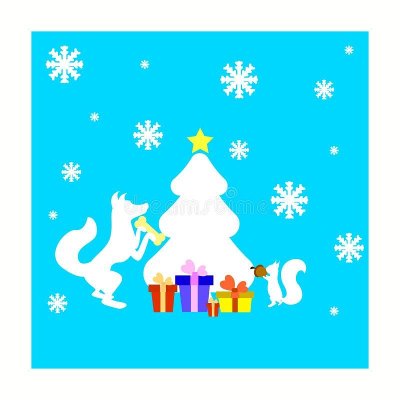 Julkort med det ekorre-, räv- och granträdet vektor illustrationer