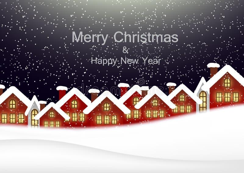 Julkort med det stads- landskapet royaltyfri illustrationer