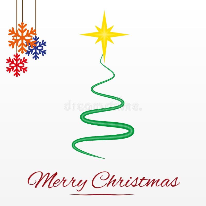 Julkort med det stiliserade julträdet vektor illustrationer
