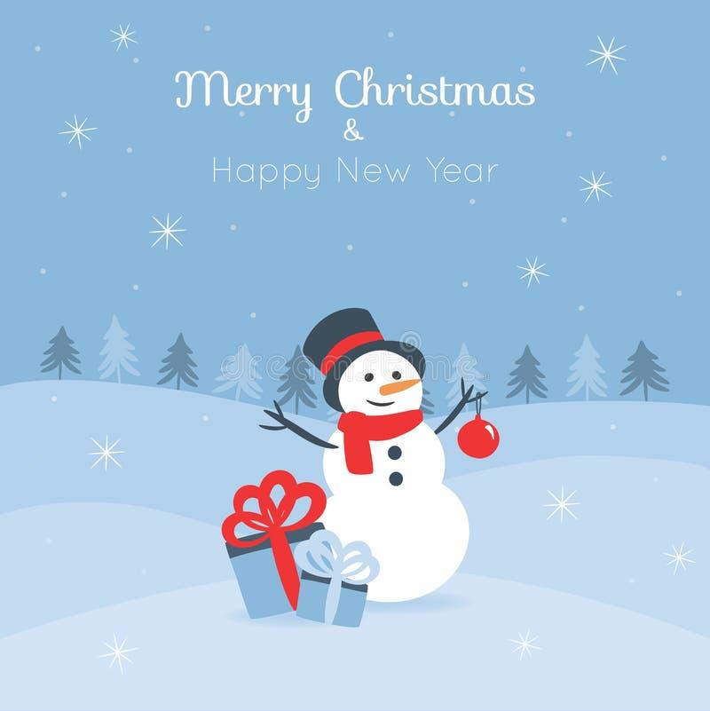 Julkort med en gullig snögubbe royaltyfri illustrationer