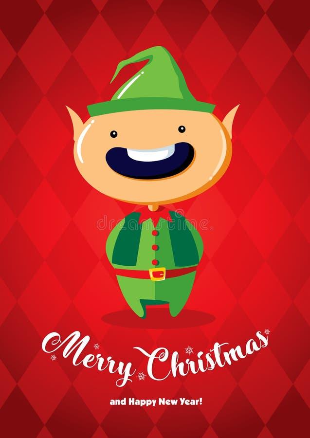 Julkort med en julälva royaltyfri illustrationer