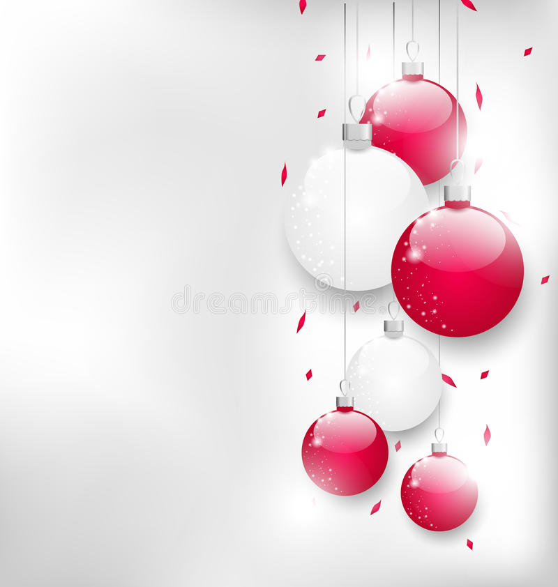 Julkort med färgrika glass bollar och glitter vektor illustrationer