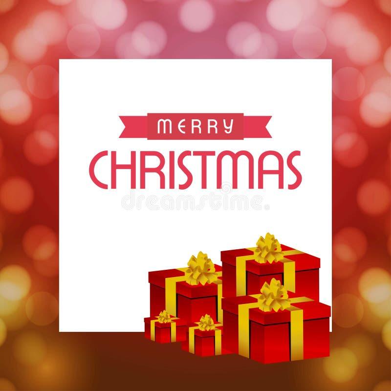 Julkort med gåvaasken och modellbakgrund vektor illustrationer