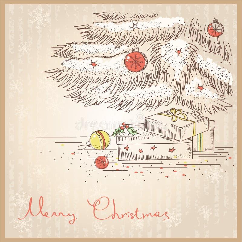 Julkort med gåvor och gåvor. Vektorattraktion royaltyfri illustrationer