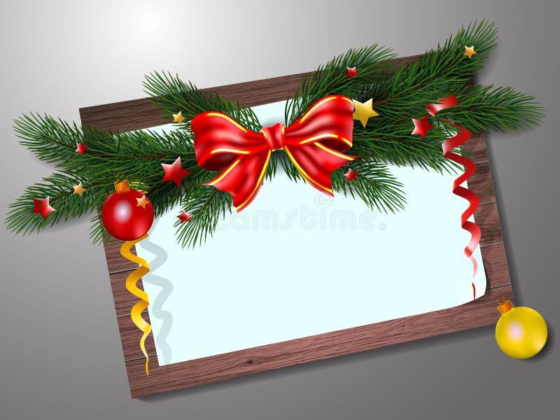 Julkort med granfilialer, bollar och trä Vektorillustr stock illustrationer