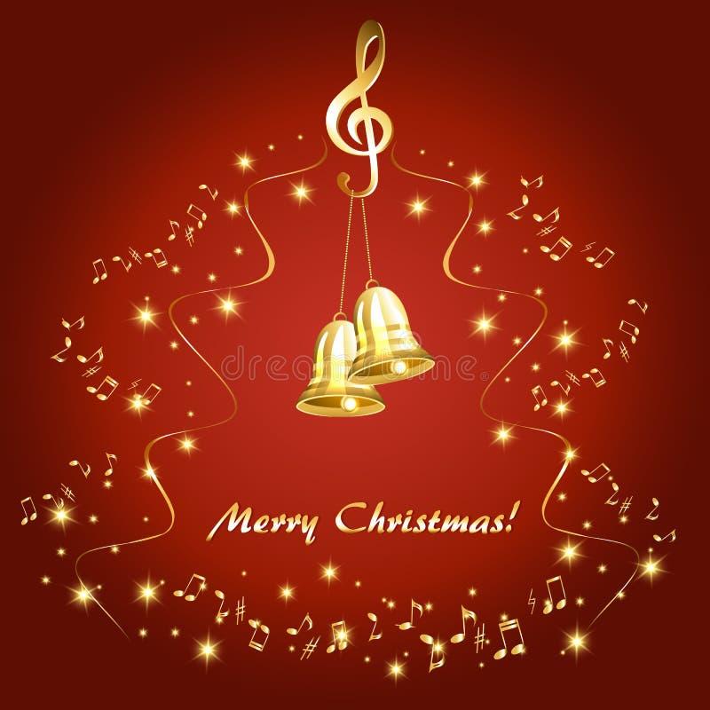 Julkort med guld- musikaliska anmärkningar och guld- klockor vektor illustrationer