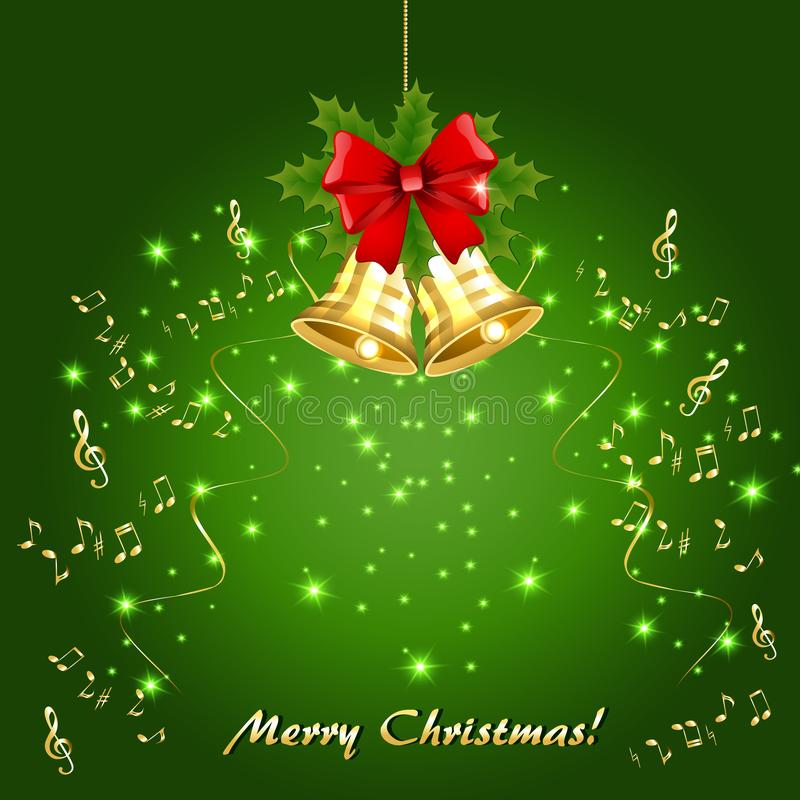 Julkort med guld- musikaliska anmärkningar och guld- klockor royaltyfri illustrationer
