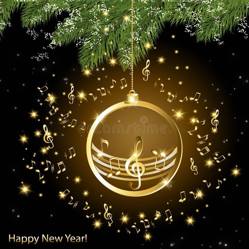 Julkort med guld- musikaliska anmärkningar på en filial av granen stock illustrationer