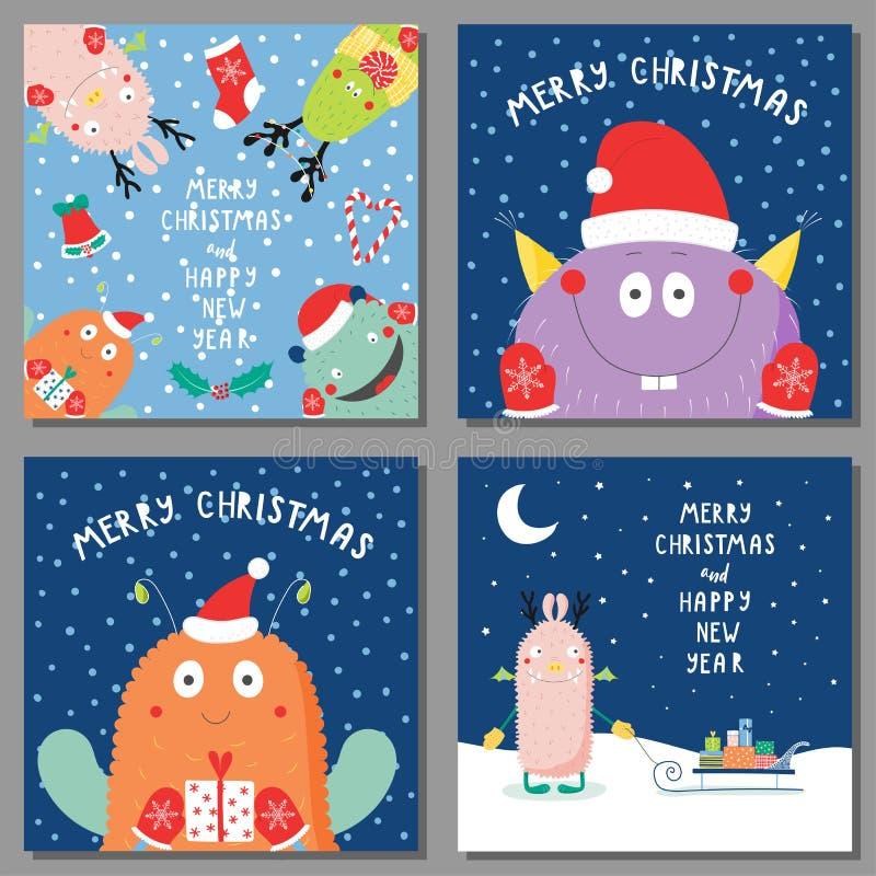 Julkort med gulliga roliga monster royaltyfri illustrationer
