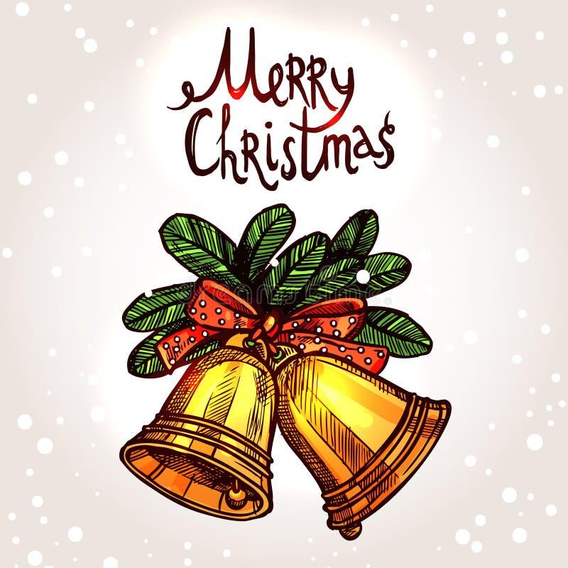 Julkort med hand drog guld- Klockor royaltyfri illustrationer