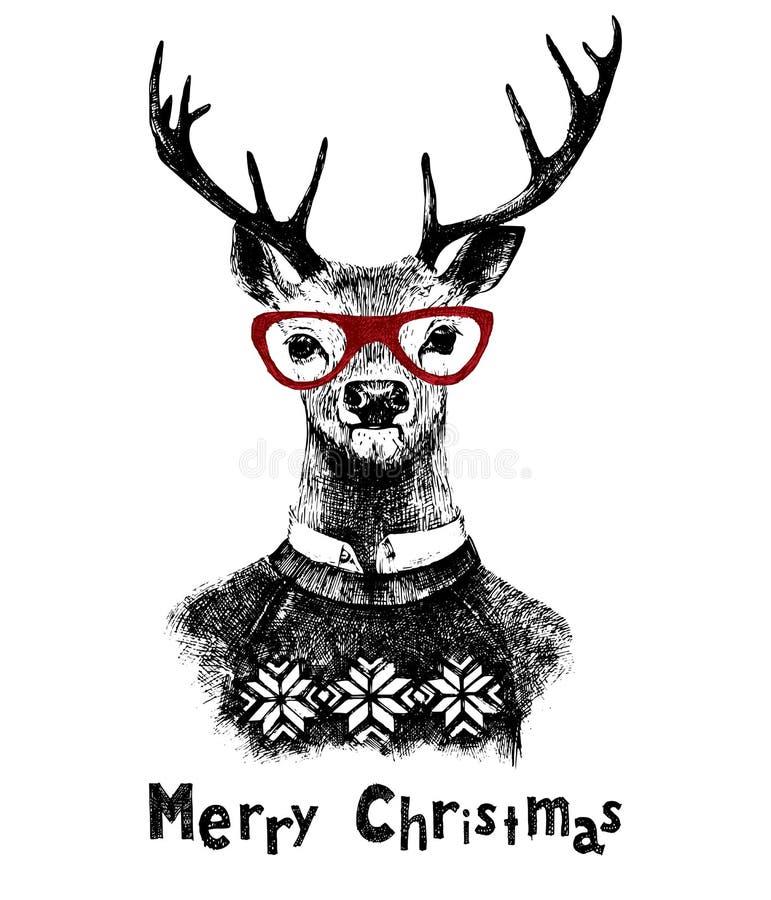 Julkort med hjortar vektor illustrationer