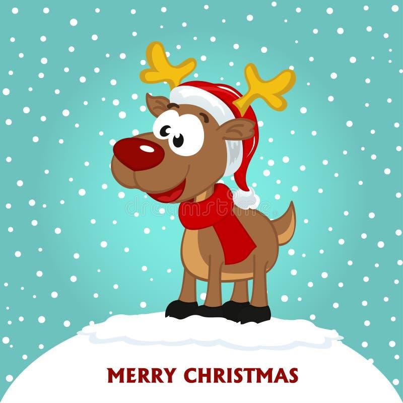 Julkort med hjortar royaltyfri illustrationer