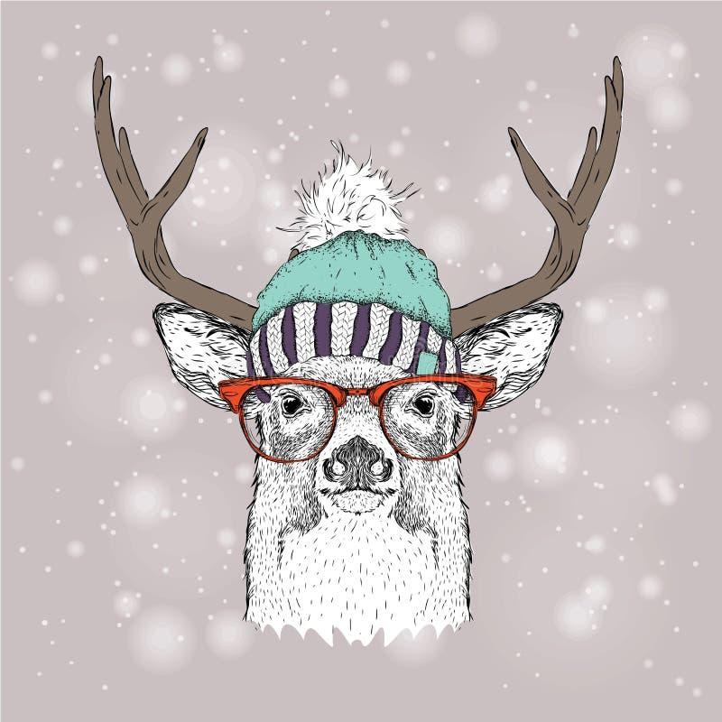 Julkort med hjortar i vinterhatt Glad jul som märker design också vektor för coreldrawillustration royaltyfri illustrationer