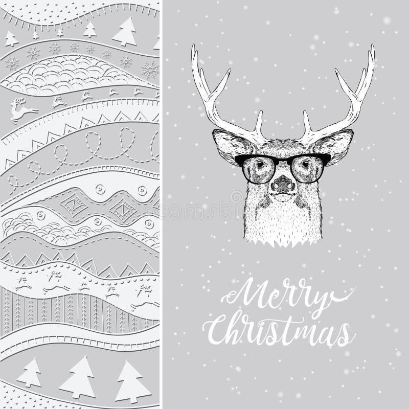 Julkort med hjortar i vinterhatt Jul hand-dragen ethnomodell, stam- bakgrund också vektor för coreldrawillustration royaltyfri illustrationer