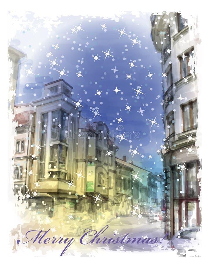 Julkort med illustrationen av stadsgatan Vattenfärgst vektor illustrationer