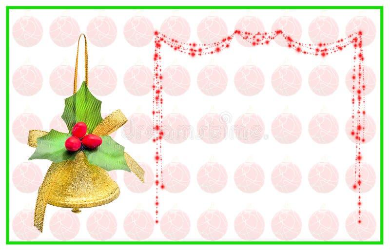 Julkort med klockan, handstilpilbågen och röda bollar fotografering för bildbyråer