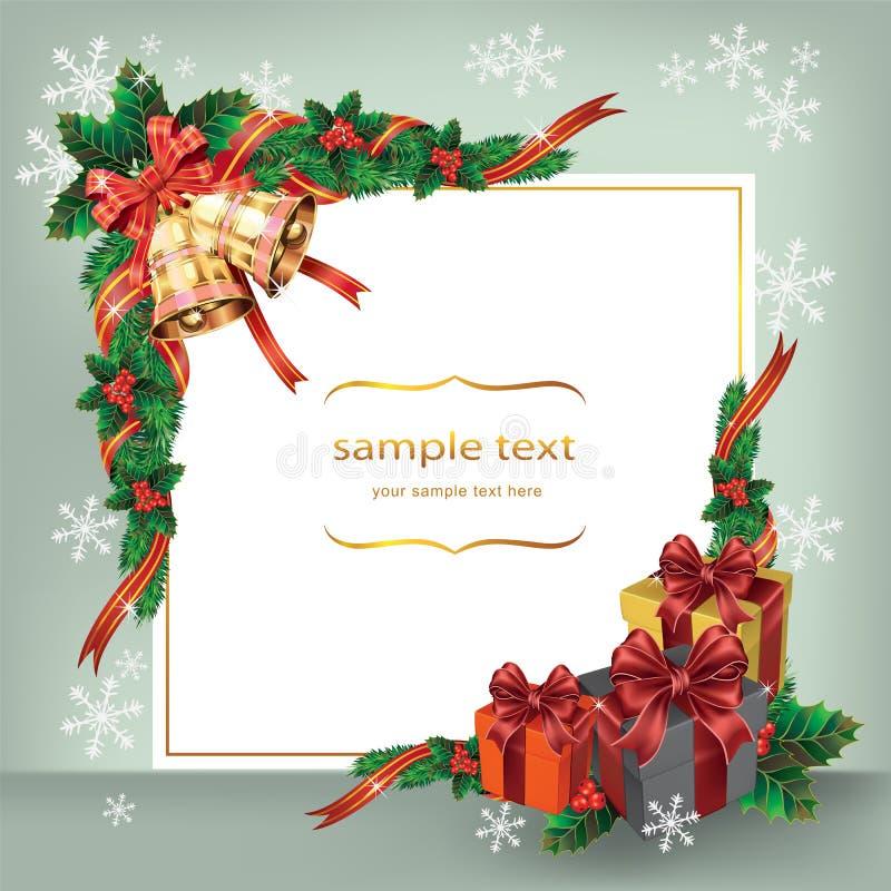 Julkort med klockor och gåvor. vektor illustrationer