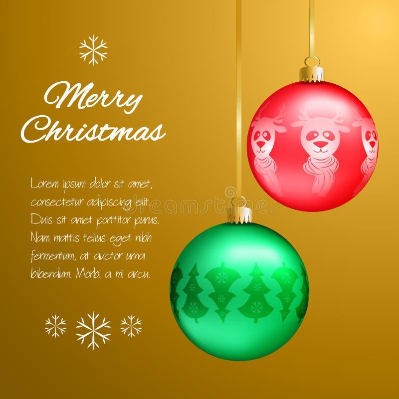 Julkort med mång--färgade hängear i formen av en boll Dekorerat gran-träd, snöflingor, hjortar Klassisk guld- bakgrund royaltyfri illustrationer