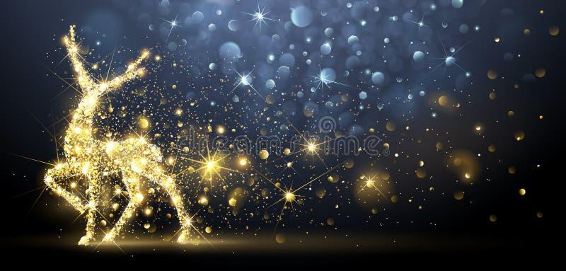 Julkort med magiska hjortar också vektor för coreldrawillustration vektor illustrationer