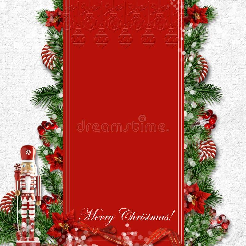 Julkort med nötknäpparen, godis, gran-träd, järnek på en feriebakgrund vektor illustrationer