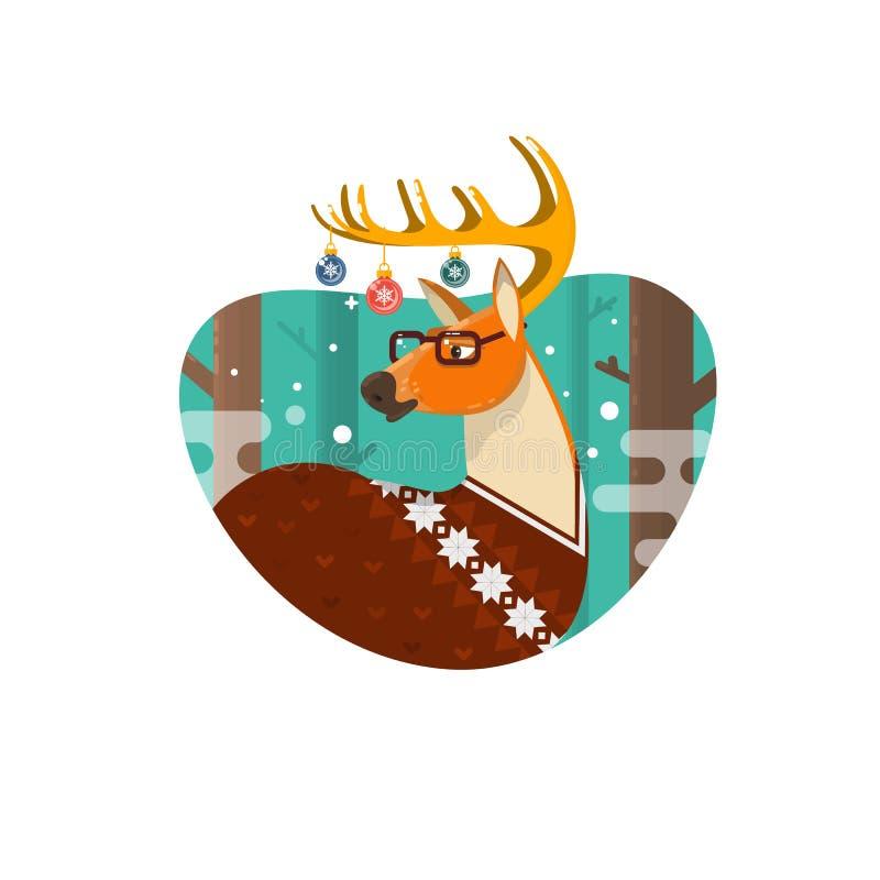 Julkort med NerdHipsterhjortar, plan illustration stock illustrationer