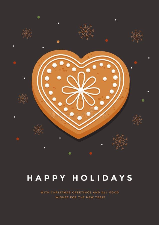 Julkort med pepparkakahjärta och lyckliga ferier för inskrift Mall för design av dina feriekort stock illustrationer